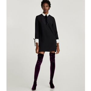 NWT Zara Tuxedo Contrasting Bib Shift Mini Dress S
